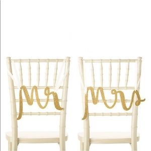 NEW Kate Spade Mr. Mrs. Gold Wedding Chair Signs